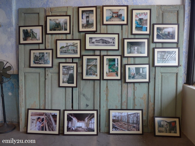photographs that document the restoration process of this building