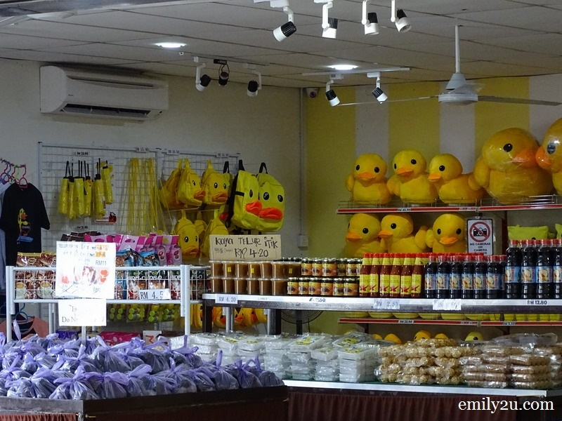12. souvenir store selling duck-themed items and duck eggs/meat
