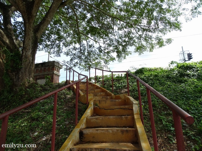2. take this flight of stairs to go to the bridge