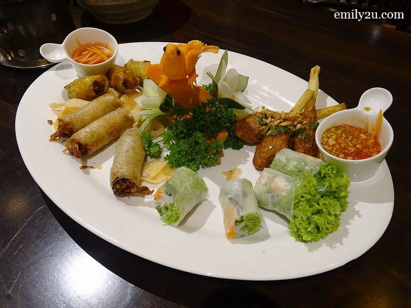 6. platter of appetiser (L-R) Fresh Spring Roll with Prawn, Saigon Fried Spring Roll, Summer Roll with Prawn & Grilled Sugar Cane Prawn Meat