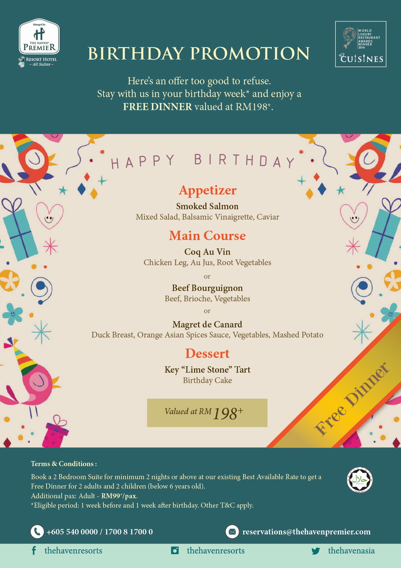 birthday special menu