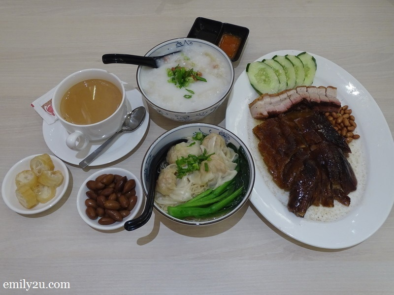 clockwise from right: Combination of traditional roast goose + honey-glazed BBQ Pork, Scallop Wanton Noodles in Soup, Hong Kong Milk Tea & Cuttlefish and mixed meat congee