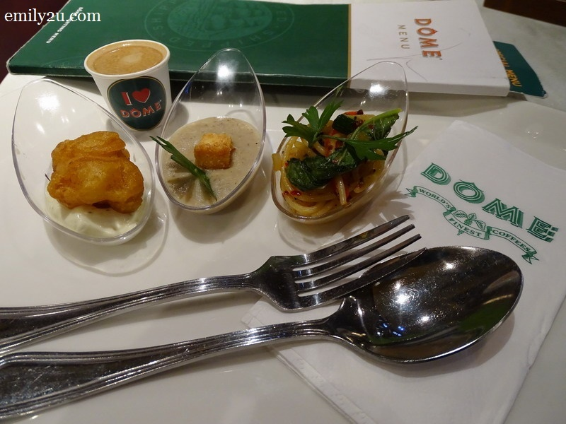 L-R: Chicken Nugget with Tartar Sauce, Mushroom Soup & Spicy Olio Spaghetti with Signature Latte