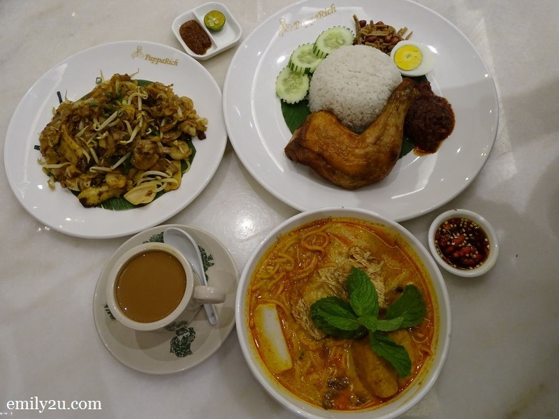 clockwise from left: Char Kway Teow Special, Nasi Lemak with Fried Chicken, Curry Laksa Special & Cham (hot)