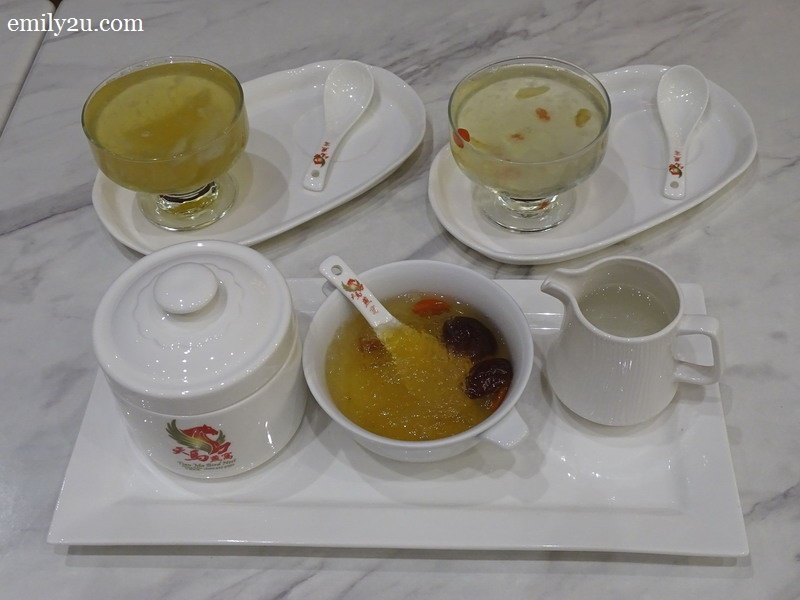 clockwise from top left: Bird's Nest with Pear, Bird's Nest with Ginseng Tea & Signature Double Boiled Bird's Nest