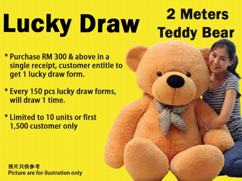 lucky draw with ten 2m teddy bears as prizes