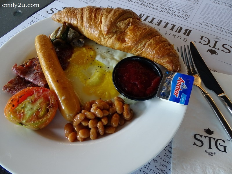 2. All-Day Breakfast (croissant, eggs, wild mushroom, baked beans, chicken sausage & beef bacon)