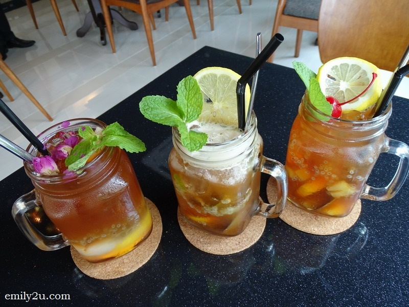 4. Sabah Tea Mocktail (L-R): Lychee & Rose, Mojiito Kiss, and Fruits Paradise