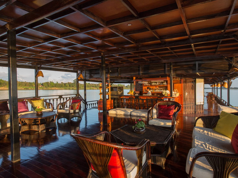 Interior of The Vat Phou, a floating hotel cruising along the Mekong River, Southern Laos