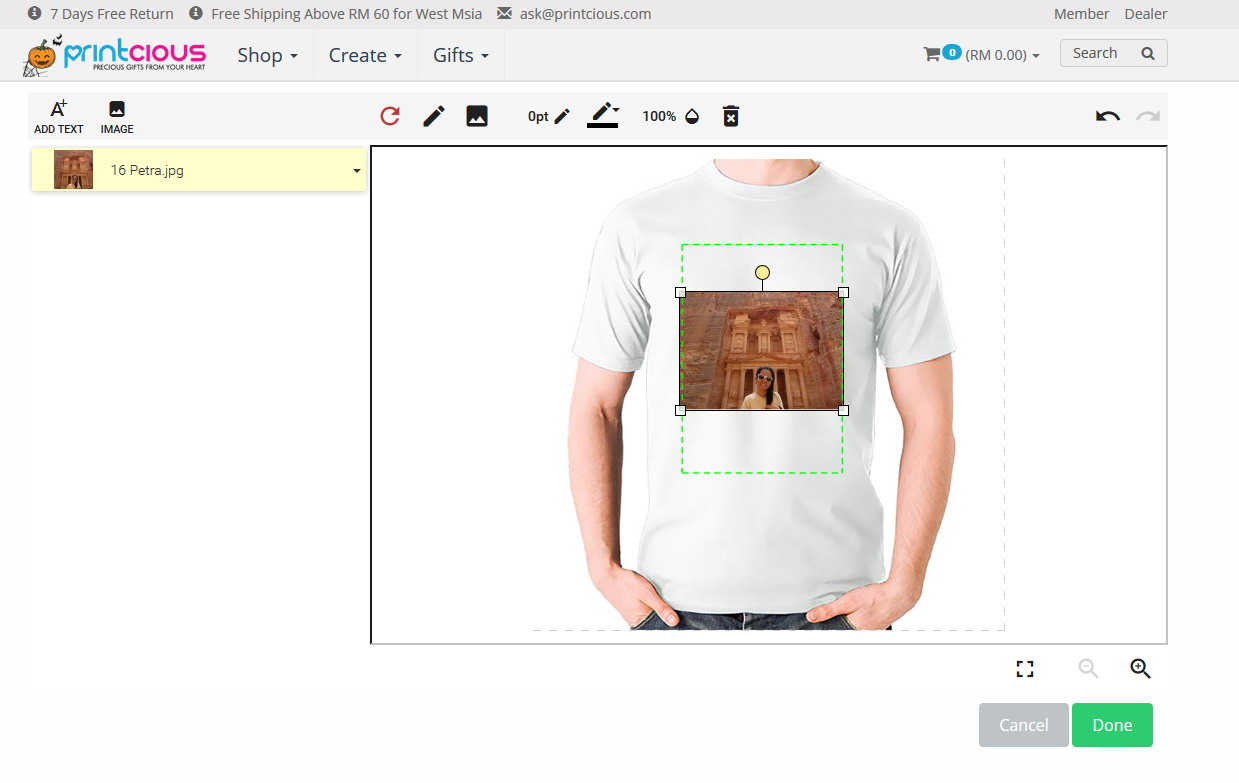 customisation tool for t-shirt