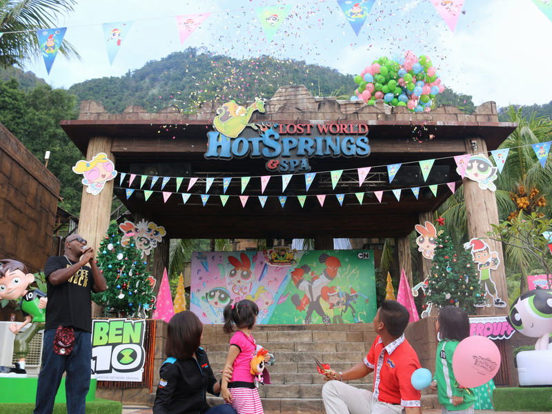1. balloons and Lost World POW Holidays tickets release into the air