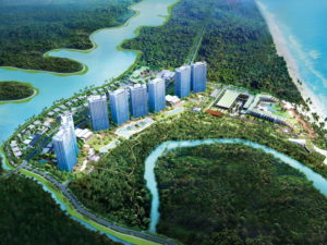 1 artist's impression aerial view of the development