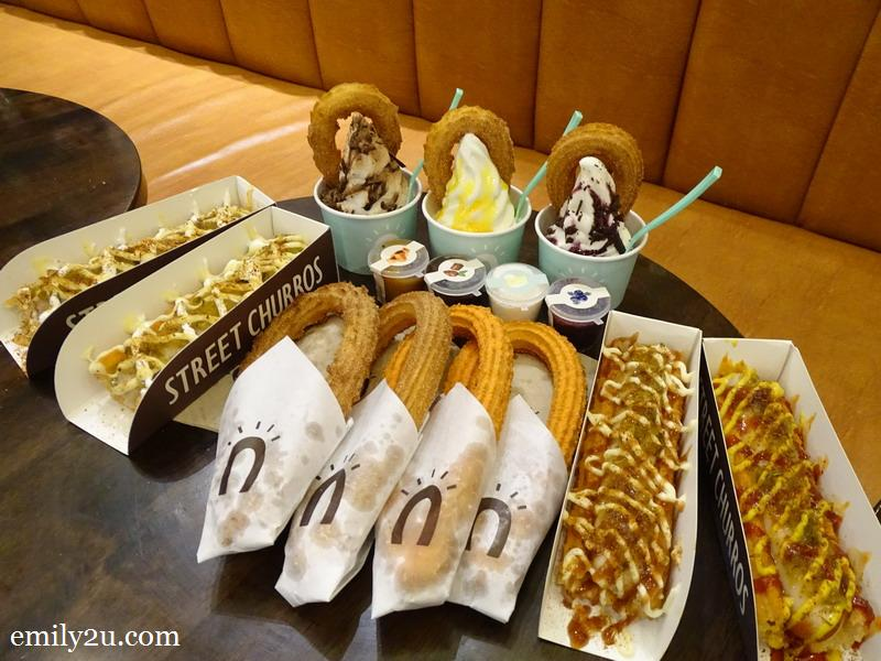 2. Street Churros flanked by Churro Hotdogs and Ice Cream Churros