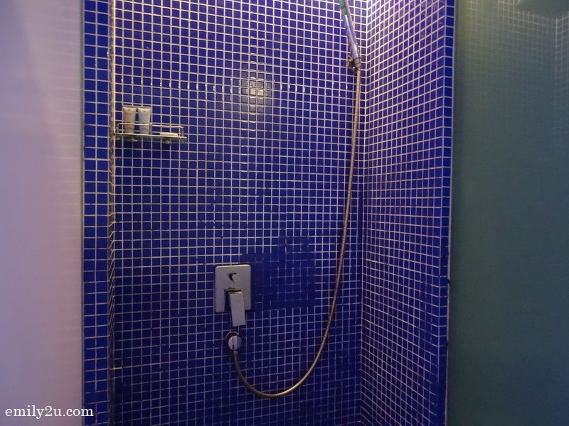 blue for the galaxy in the shower stall