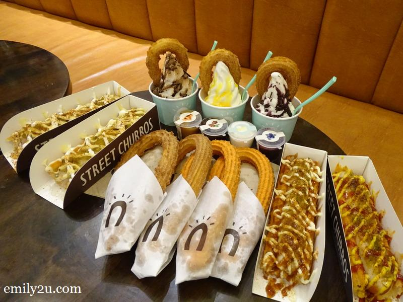 8. Street Churros flanked by Churro Hotdogs and Ice Cream Churros