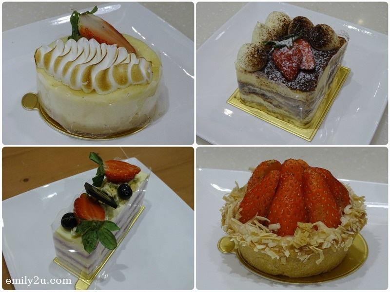 9. desserts (clockwise from  top left): Souffle Cheese Cake, Tiramisu, Strawberry Tart & Framboise