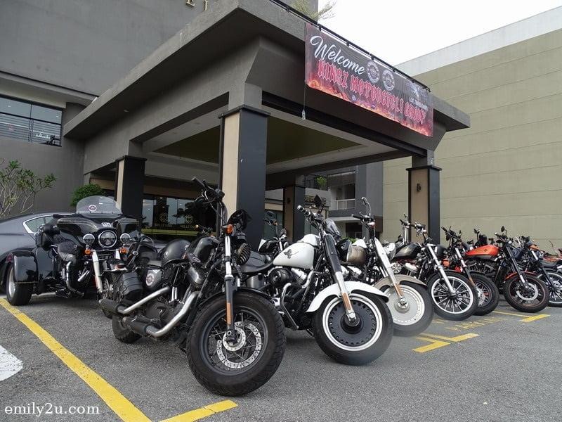 15. pristine Harley-Davidson bikes parked in front of Millésimé Hotel, Johor