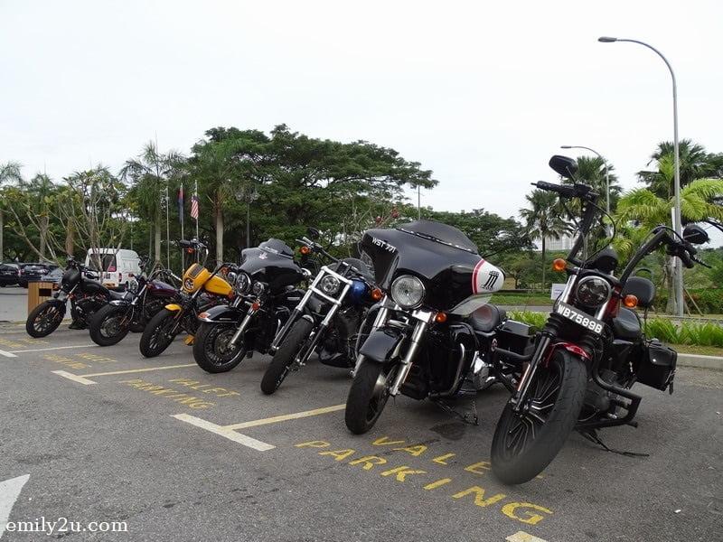 16. sparkling Harley-Davidson bikes parked in front of Millésimé Hotel, Johor