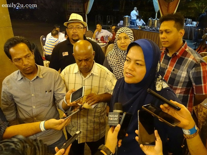 YB Dato' Nolee Ashilin speaks to the press