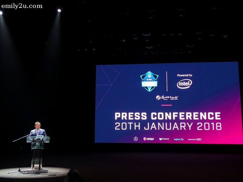 1. Kevin Tann, Vice President of Promotions & Entertainment at Resorts World Genting, during his opening speech at the launch of ESL One Genting 2018 at Genting International Showroom.