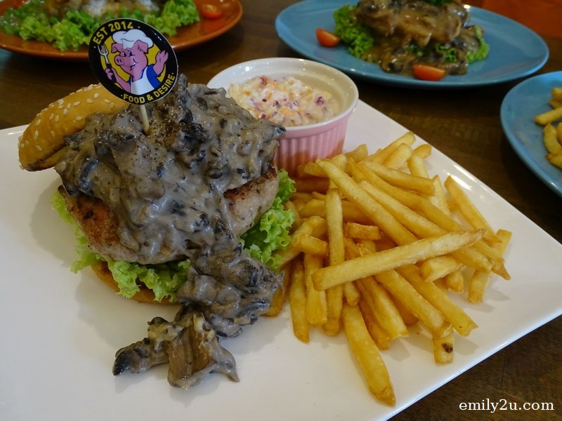 11. Grillicious Swiss Mushroom Pork Burger, a signature item served at Food & Desire, with fresh homemade minced pork