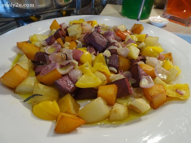 13. oven-roasted rainbow potatoes with herbs