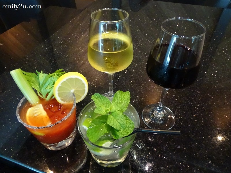 25. highlighted beverages from Moon River Bar & Grill (clockwise L to R): Virgin Mary, White Wine, Red Wine & Mojito