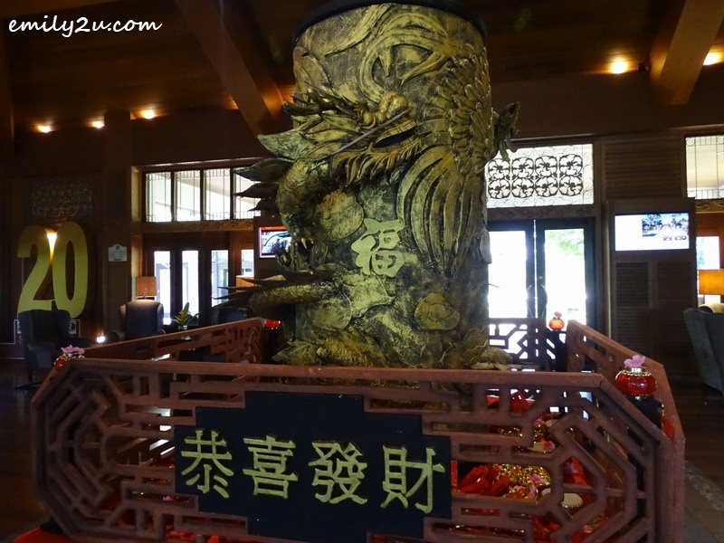 2. rotating dragon figurine at the lobby