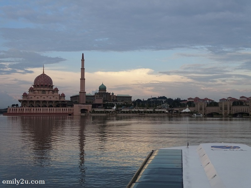 cruising Putrajaya Lake on the Kelah catamaran, heading towards Putra Mosque