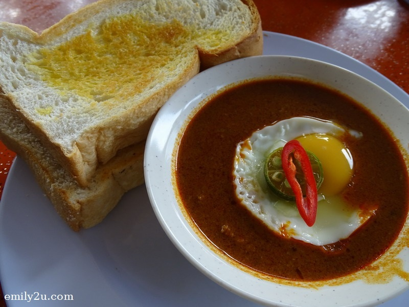 breakfast of toasted bread with fragrant beef curry