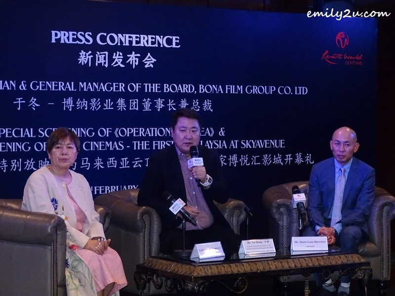 1. at the press conference (L-R): Ms. Candy Leung (producer of Operation Red Sea), Mr. Yu Dong (Bona Film Group Chairman & General Manager of the Board) and Mr. Dante Lam (director of Operation Red Sea)