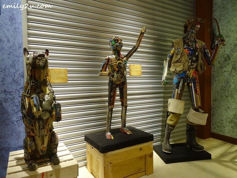 16. Toy Dog (L) & Junk Art Figures
