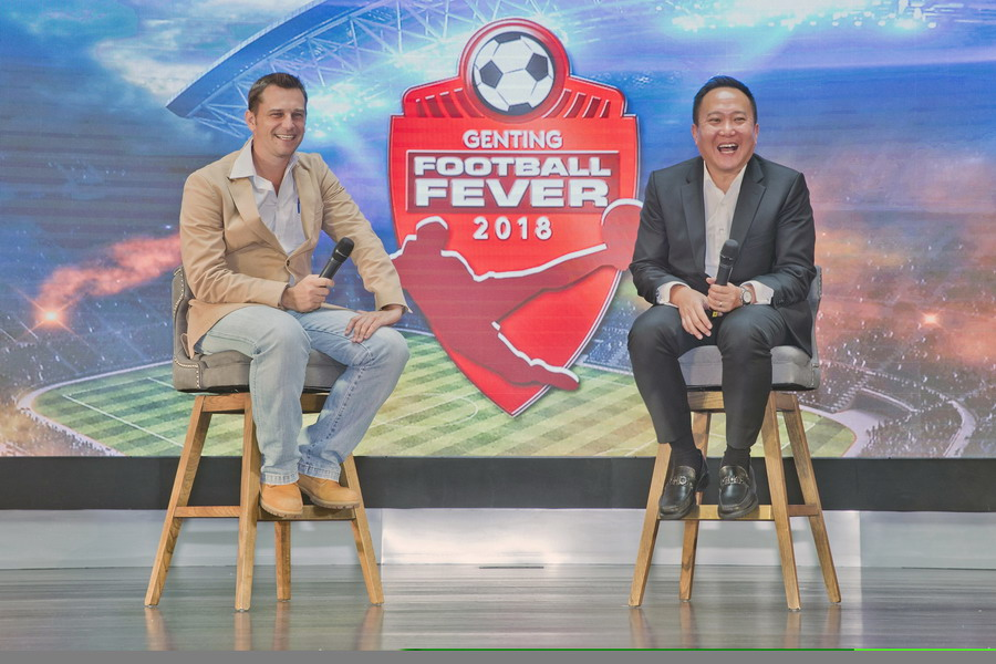 Gavin O'Luanaigh (L) and Kevin Tann answer questions during the media session at the Genting Football Fever 2018 launch