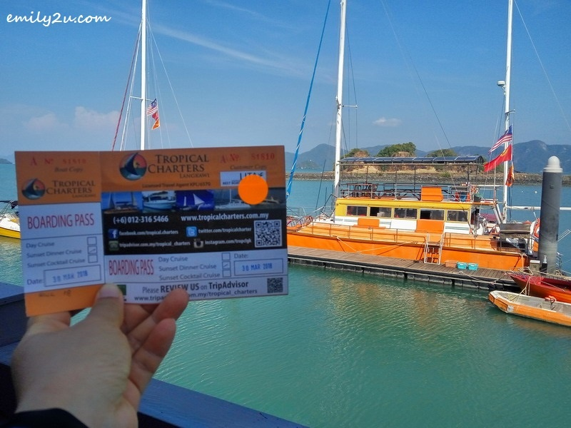 1. a ticket to board Tropical Charters Langkawi's Sunset Cruise