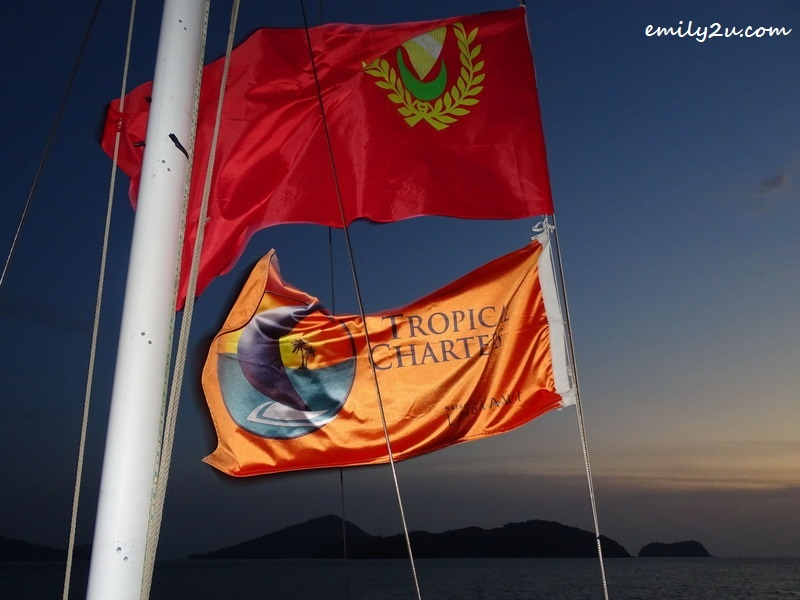 14. flying the Tropical Charters Langkawi flag