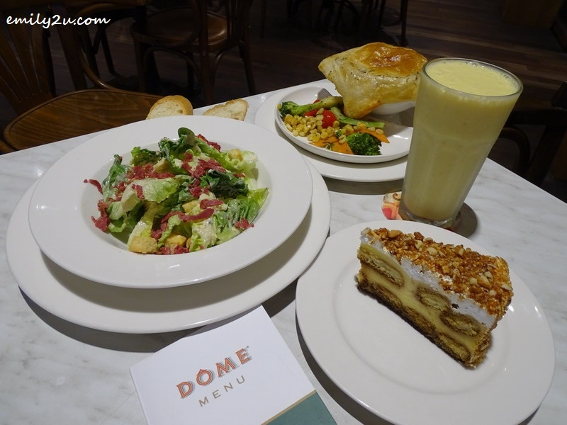 6. clockwise from L – R: Caesar Salad, Apple Crush, Gourmet Chicken Pie, Banana Burst & Tiramisu @ DÔME Café, SkyAvenue