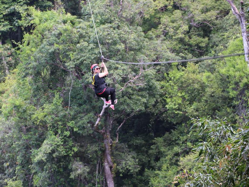 6. Miera Nadhirah on one of the ziplines (photo credit: Angeline Ong)