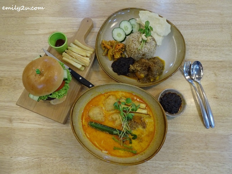 Clockwise L - R: Grilled BMS Chef's Burger, BMS Signature Nasi Lemak and BMS Soy Milk Curry Laksa with handmade noodles @ BMS Organics, SkyAvenue