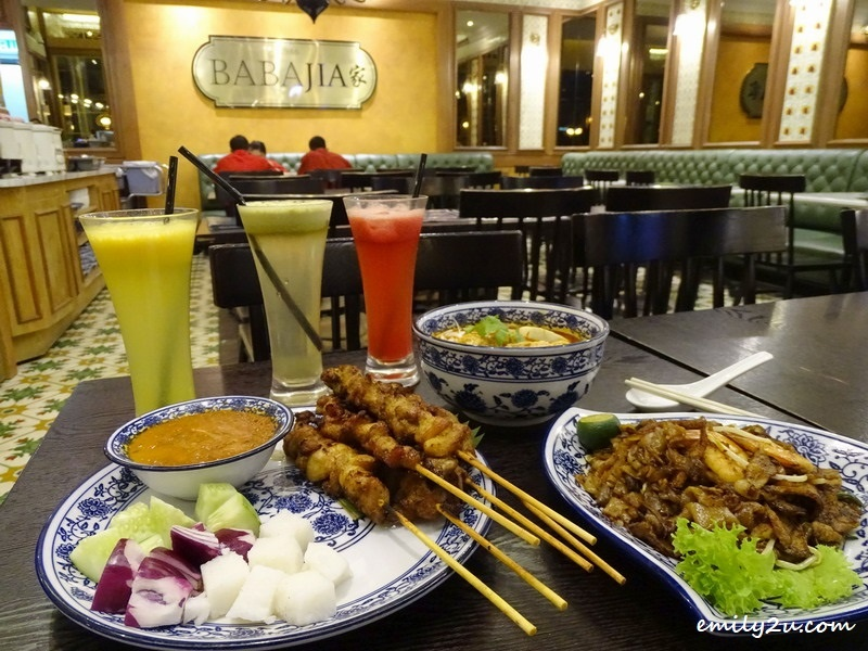 Clockwise L - R: Chicken Satay, Nyonya Laksa & Char Kway Teow. Drinks (L-R): Orange Juice, Apple Juice & Watermelon Juice @ Babajia, SkyAvenue