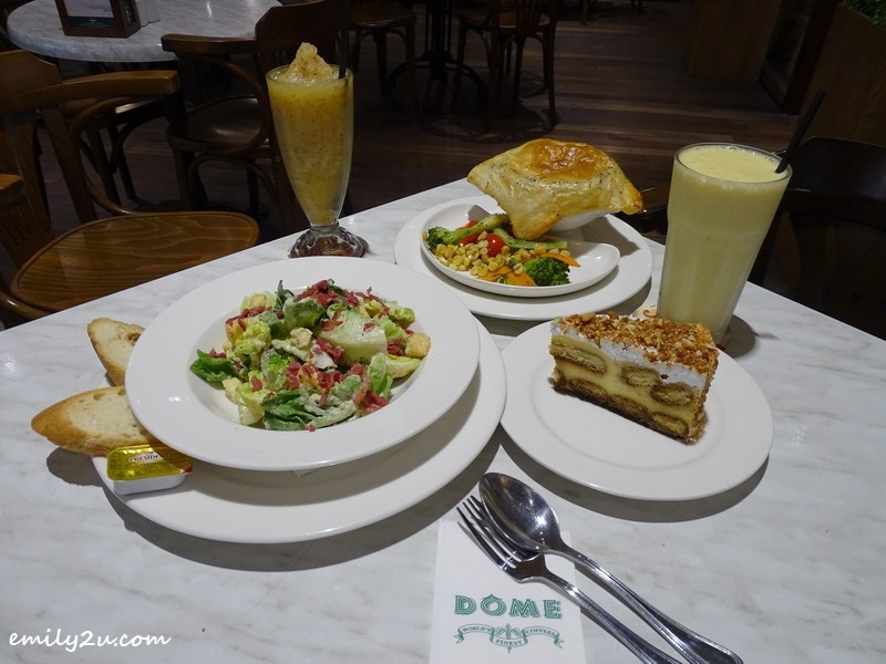 Clockwise from L - R: Caesar Salad, Apple Crush, Gourmet Chicken Pie, Banana Burst & Tiramisu @ DÔME Café, SkyAvenue