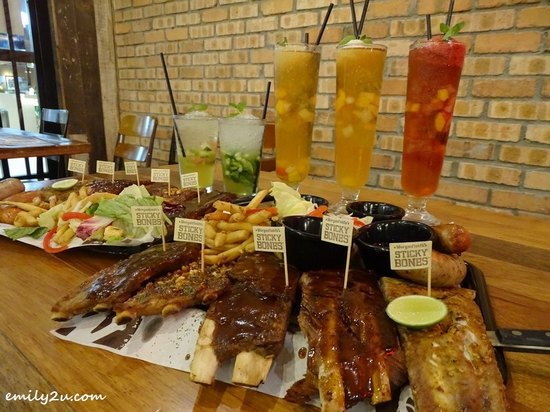 Mini Platter Ribs with Five Sauces (L-R): Black Pepper, Garlic, BBQ, Asian & Rib Rub (original) @ Morganfield's, SkyAvenue