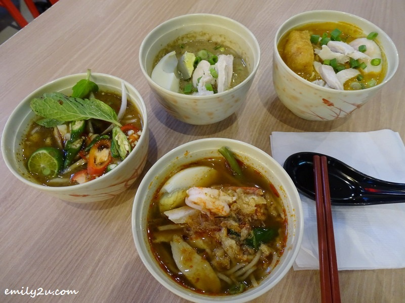 Little Bowl Noodles (clockwise L - R): Laksa, Green Curry, Curry & Prawn Mee @ Only Mee, SkyAvenue