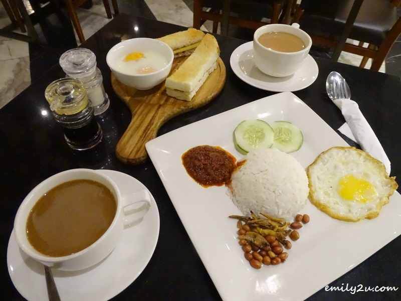 Half-boiled Eggs & Toast with Coffee, along with Nasi Lemak with Tea @ Richdad, SkyAvenue