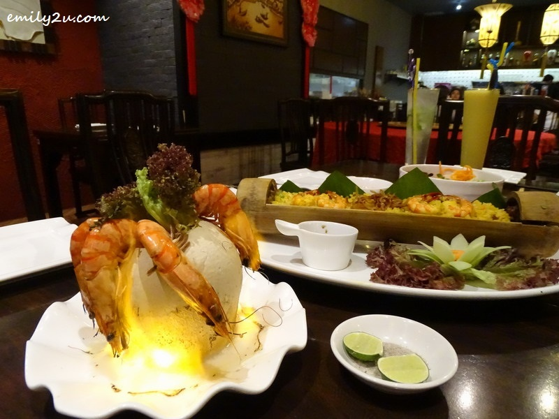 Flaming Coconut Seafood Curry, Tay Giang Bamboo Fried Rice & BBQ Meat Noodles @ Royale Vietnam Restaurant, SkyAvenue