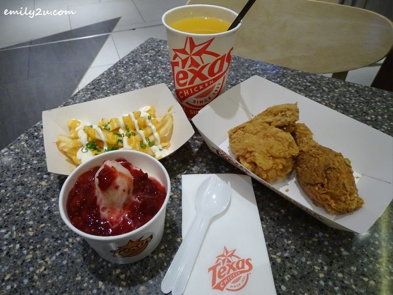 Texas Chicken with Cheese Fries, Strawberry Shortcake & Orange Juice @ Texas Chicken, SkyAvenue