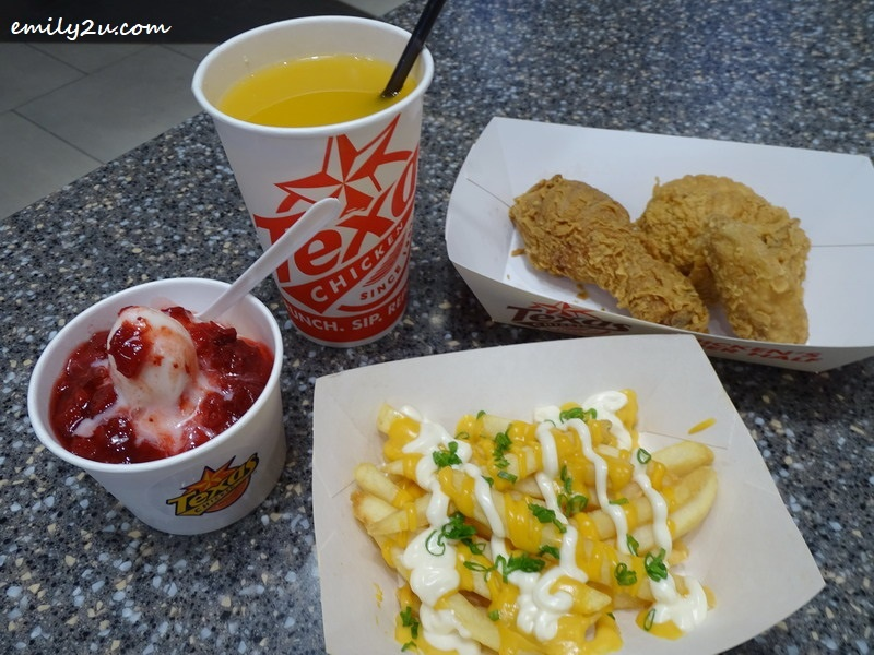 3. Texas Chicken with Cheese Fries, Strawberry Shortcake & Orange Juice @ Texas Chicken, SkyAvenue