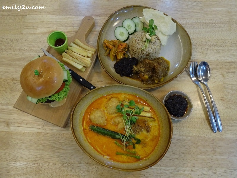 7. Clockwise L – R: Grilled BMS Chef's Burger, BMS Signature Nasi Lemak and BMS Soy Milk Curry Laksa with handmade noodles @ BMS Organics, SkyAvenue