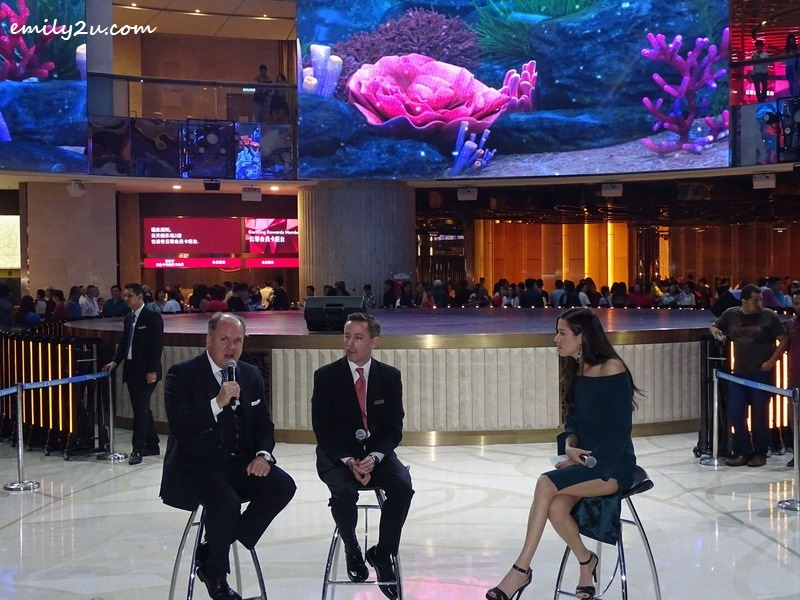 7. L-R: Regis Brown, Deputy Managing Director of Genting Studios and Brian Machamer, Senior Vice President of Theme Park, Resorts World Genting share in-depth information at the exclusive launch of Ocean Groove, with emcee Nadia Heng