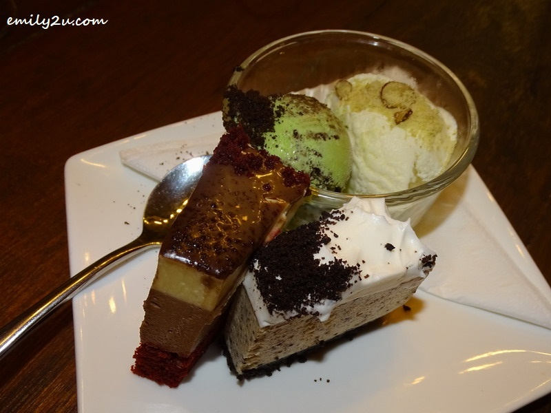 8. dessert of Coconut Yogurt Gelato, Durian Cheese Cake & Double, along with Velvet Choco Mousse Cake