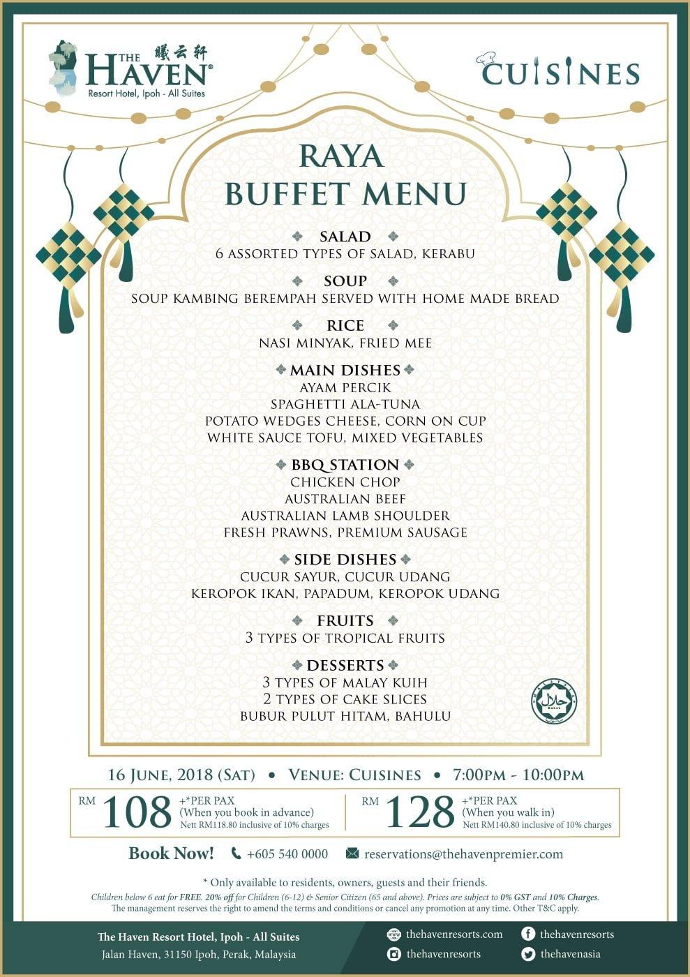 menu for Saturday, 16th June, 2018